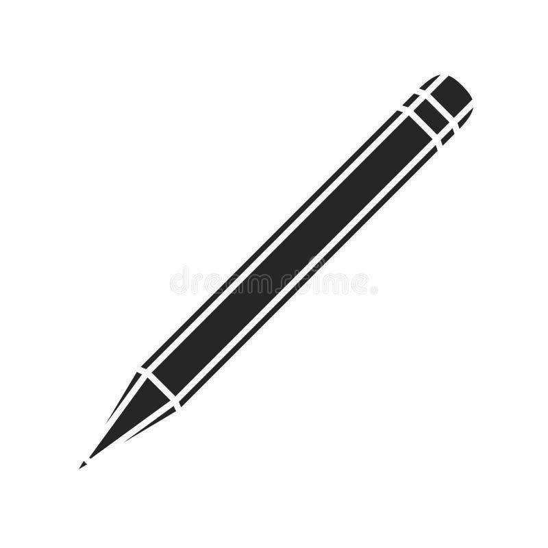Значок карандаша плоский на белой предпосылке, для любого случая иллюстрация вектора