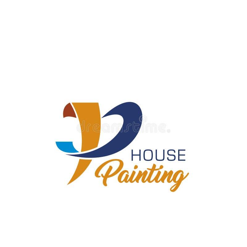 Значок картины дома для домашнего дизайна ремонтных услуг иллюстрация штока