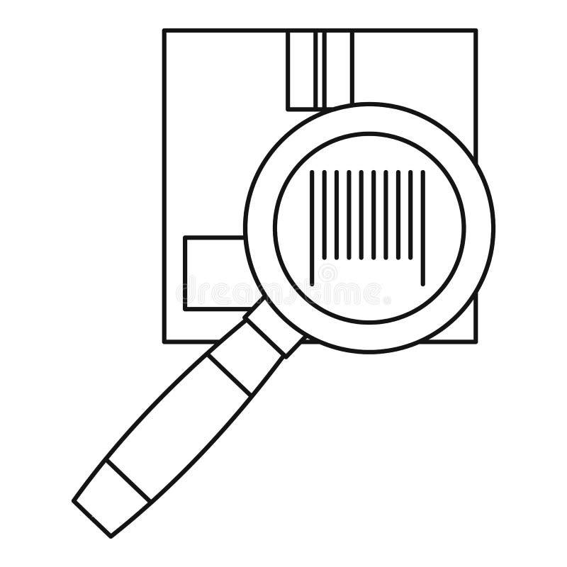 Значок картонной коробки и лупы иллюстрация вектора