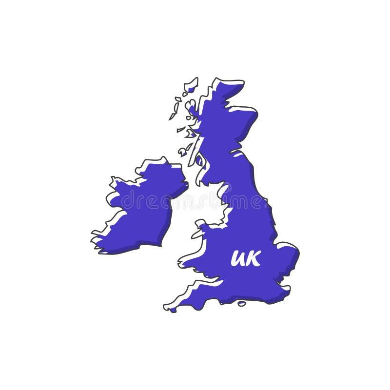 Значок карты Великобритании в плоском дизайне также вектор иллюстрации притяжки corel иллюстрация штока
