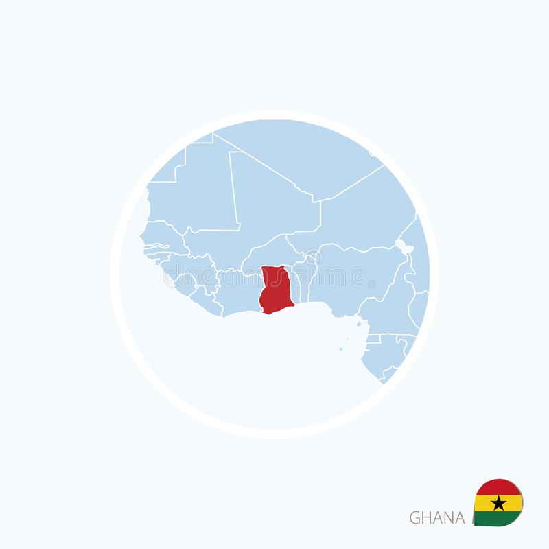 Значок карты Ганы Голубая карта Африки с выделенной Ганой в красном цвете иллюстрация штока