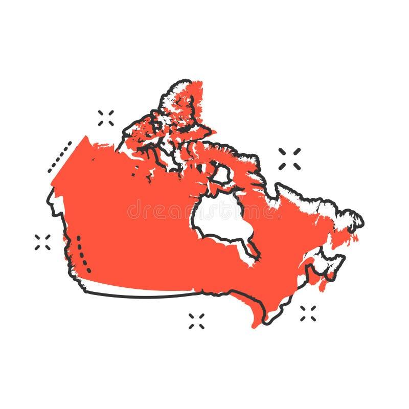 Значок карты Канады шаржа в шуточном стиле Pict иллюстрации Канады иллюстрация штока
