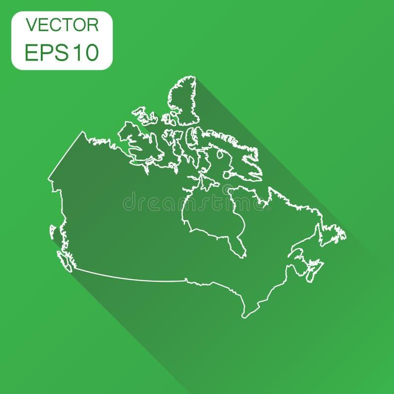 Значок карты Канады линейный План концепции картоведения дела может иллюстрация вектора