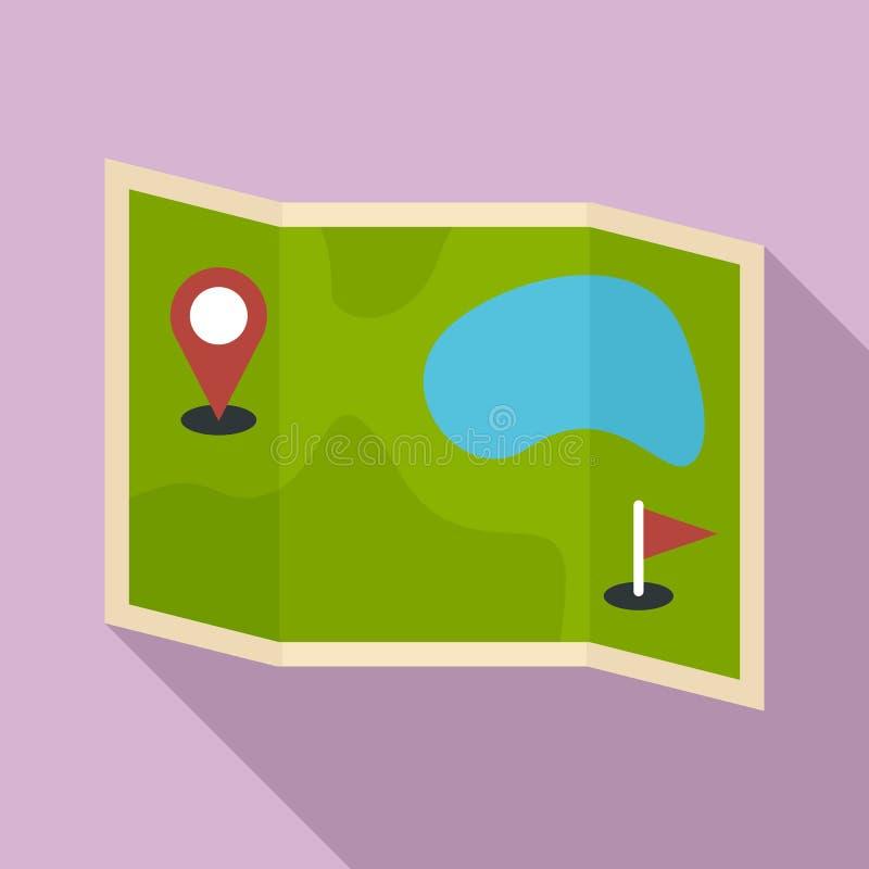 Значок карты месторождения гольфа, плоский стиль иллюстрация вектора