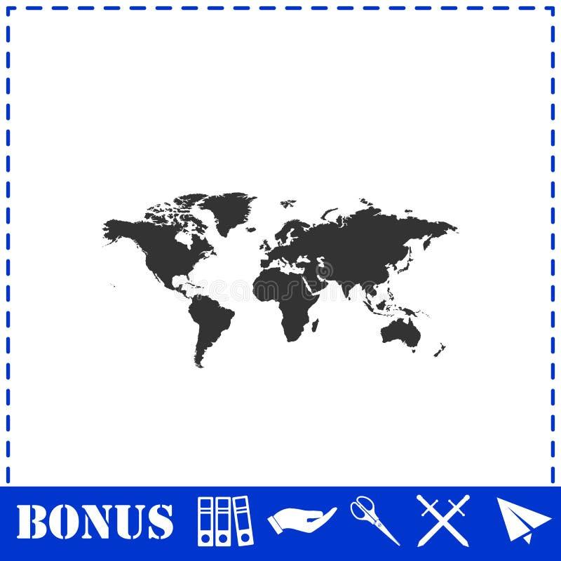 Значок карты мира плоско иллюстрация вектора