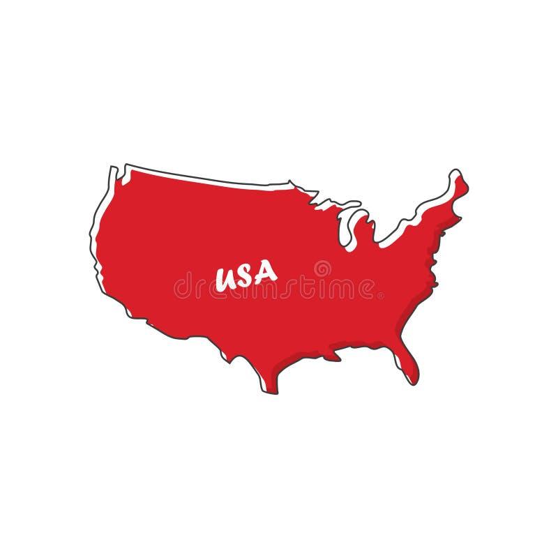 Значок карты США в плоском дизайне также вектор иллюстрации притяжки corel иллюстрация вектора