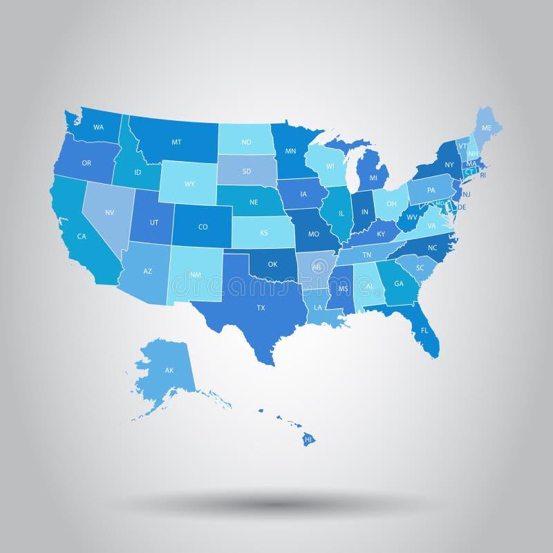 Значок карты США Концепция Соединенные Штаты картоведения дела Amer иллюстрация вектора