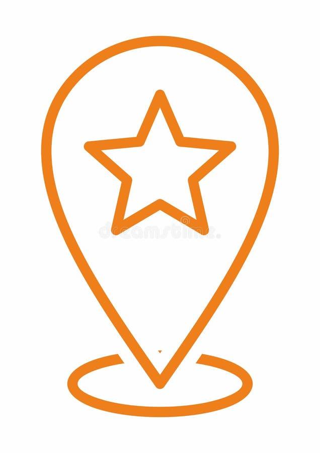 Значок карты штыря звезды любимый Отметки карты значок положения для Multi цели иллюстрация штока