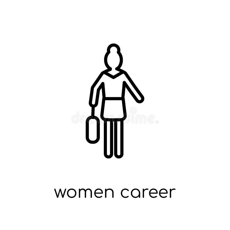 Значок карьеры женщин Ультрамодная современная плоская линейная карьера женщин вектора иллюстрация вектора
