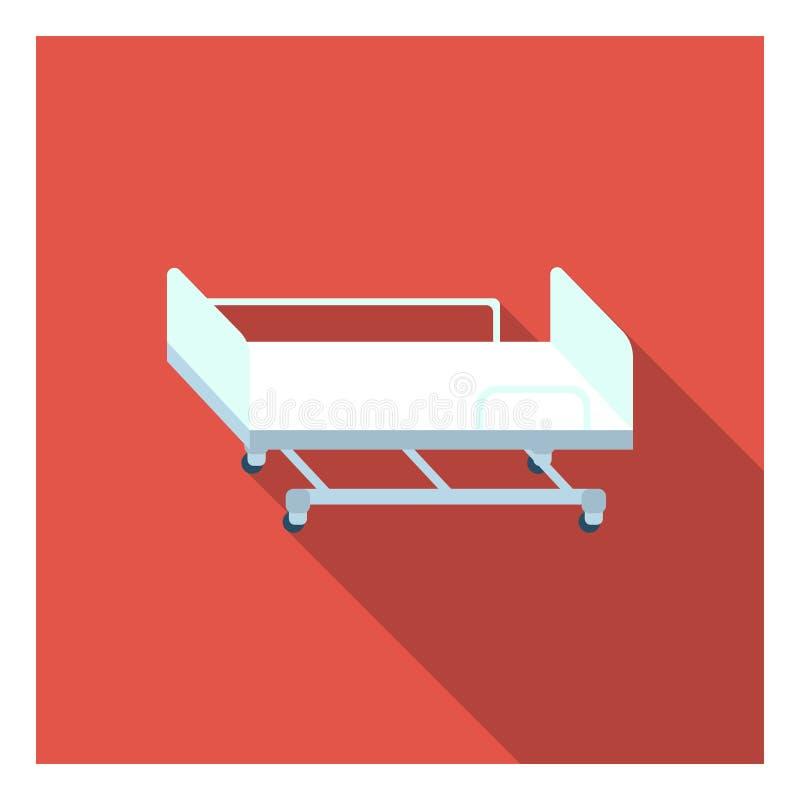Значок каталки больницы в плоском стиле на белой предпосылке Иллюстрация вектора запаса символа медицины и больницы иллюстрация штока