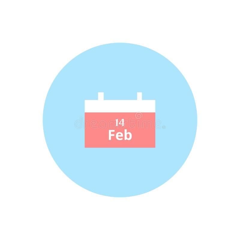 Значок календаря дня валентинок плоский 14-ое февраля иллюстрация штока