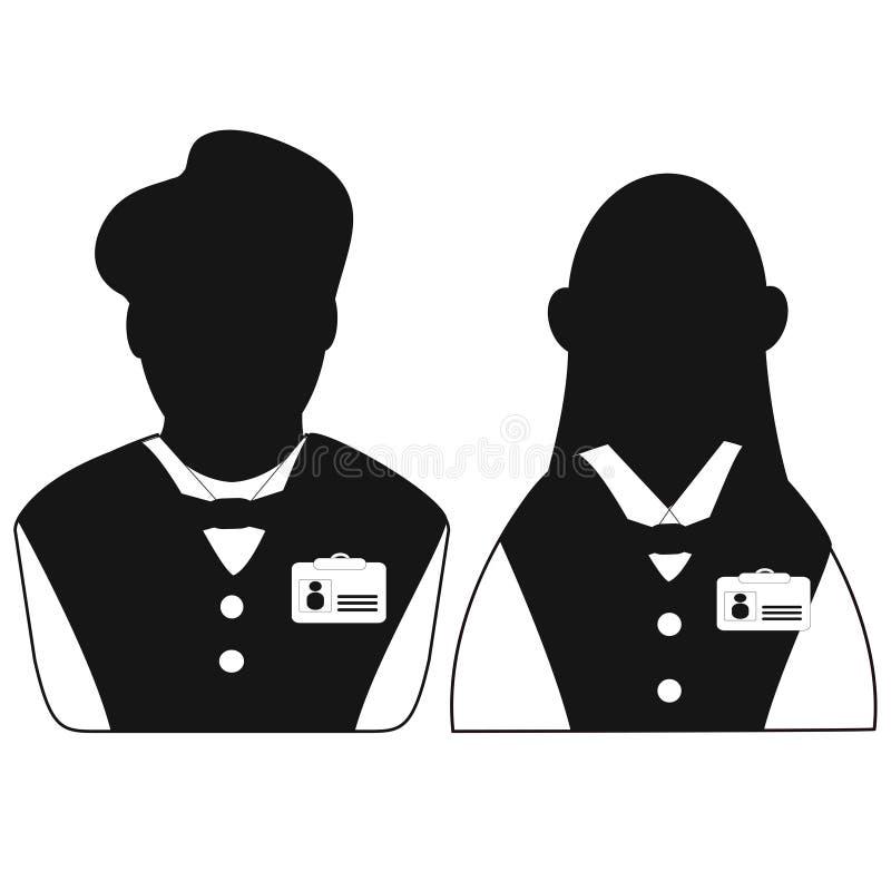 Значок кельнера и официантки головной иллюстрация штока