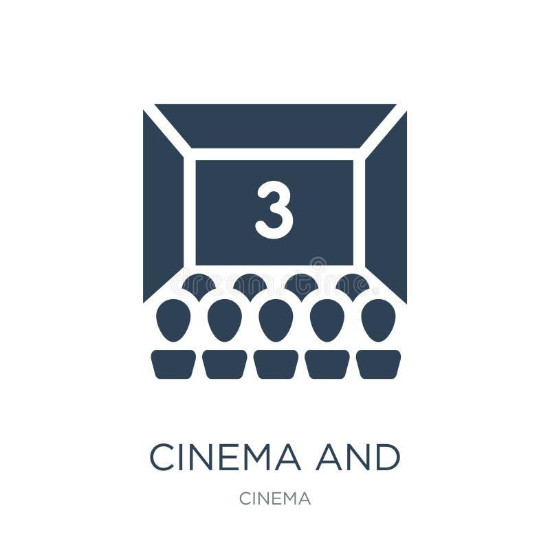 значок кино и аудитории в ультрамодном стиле дизайна значок кино и аудитории изолированный на белой предпосылке вектор кино и ауд иллюстрация вектора
