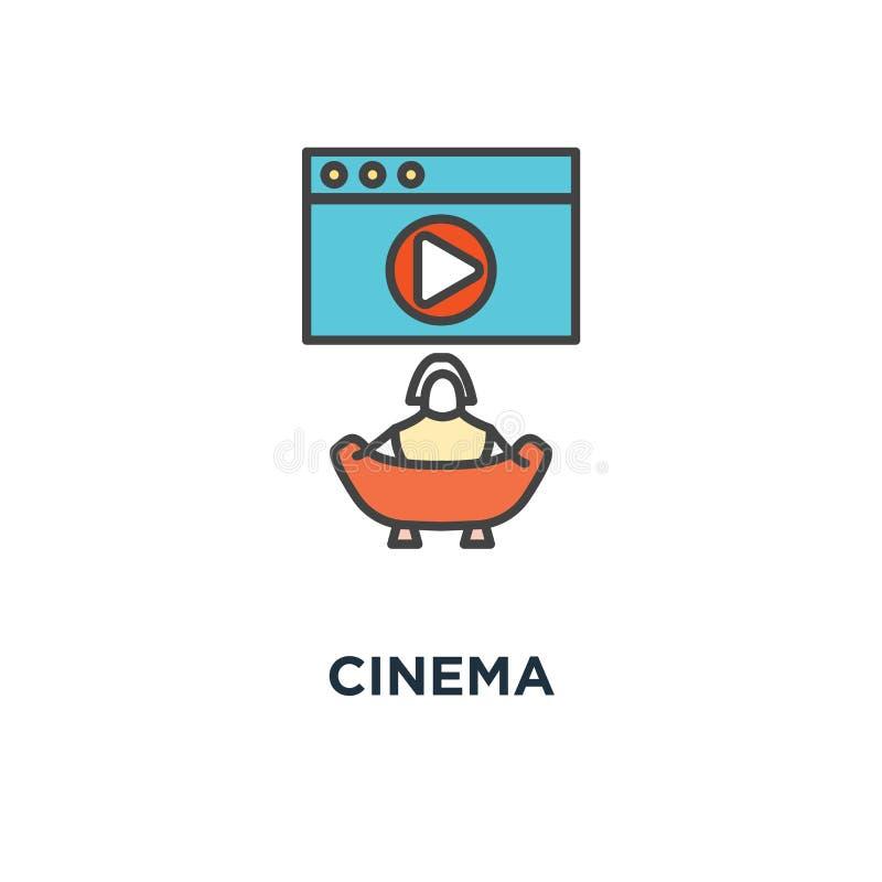 значок кино, символ фильма или зажим на большом экране с кнопкой игры и попкорном еды, планом современным, мультфильмом концепции иллюстрация штока