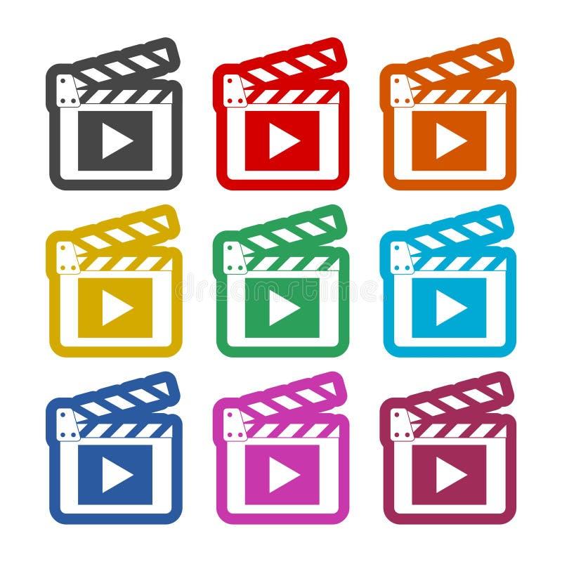 Значок кино, стикер щитка фильма, установленные значки цвета иллюстрация штока