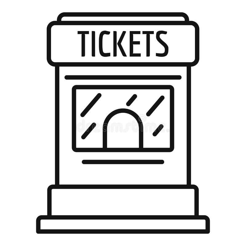 Значок киоска билета, стиль плана иллюстрация вектора