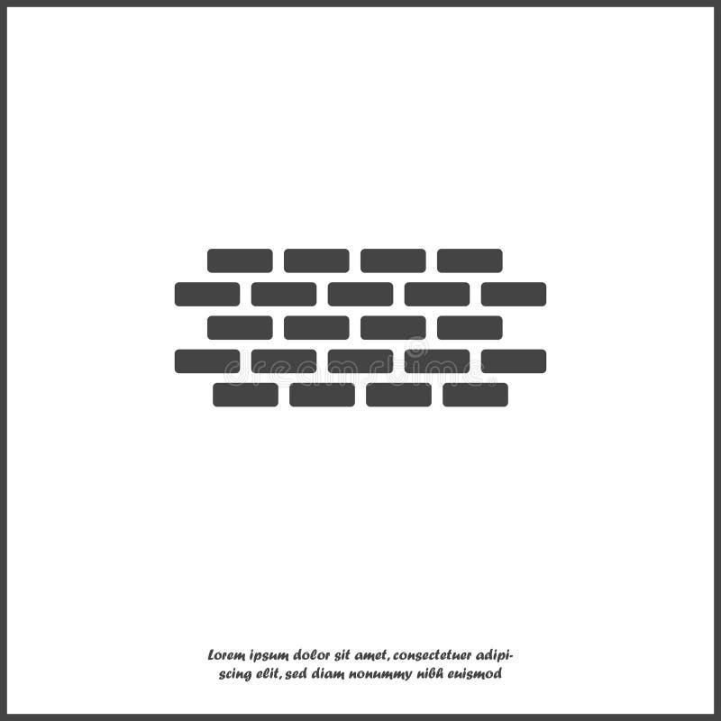 Значок кирпича вектора Иллюстрация кирпичной кладки Значок кирпичной стены на белой изолированной предпосылке иллюстрация штока