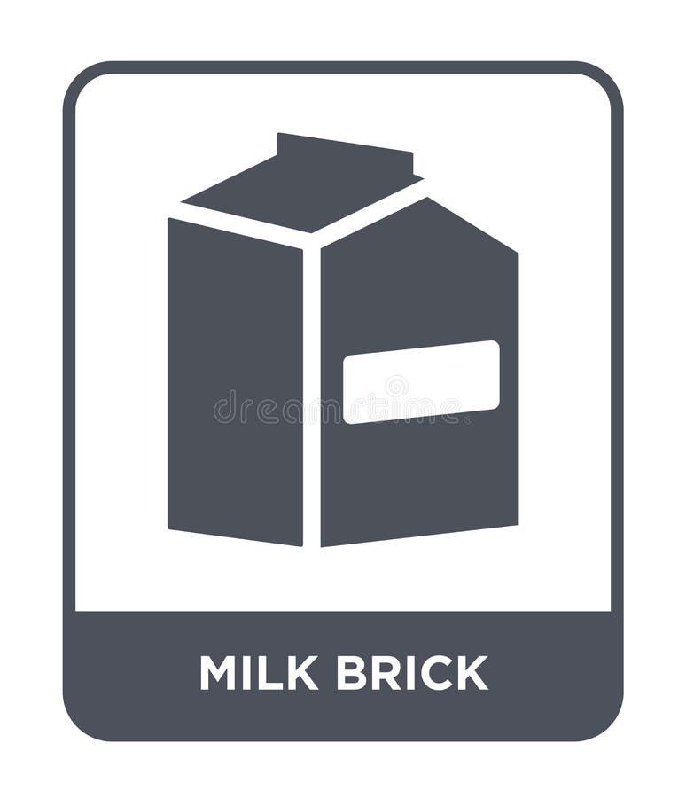 значок кирпича молока в ультрамодном стиле дизайна значок кирпича молока изолированный на белой предпосылке значок вектора кирпич иллюстрация штока