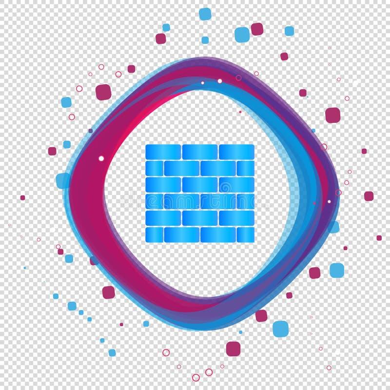 Значок кирпичной стены - современная красочная иллюстрация вектора - изолированный на прозрачной предпосылке бесплатная иллюстрация