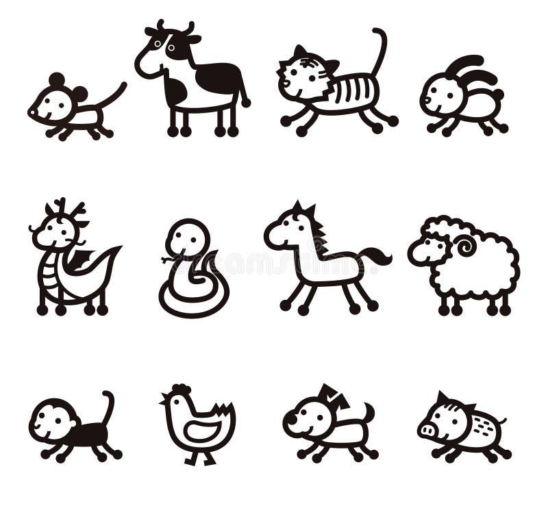 Значок 12 китайский животных зодиака иллюстрация штока