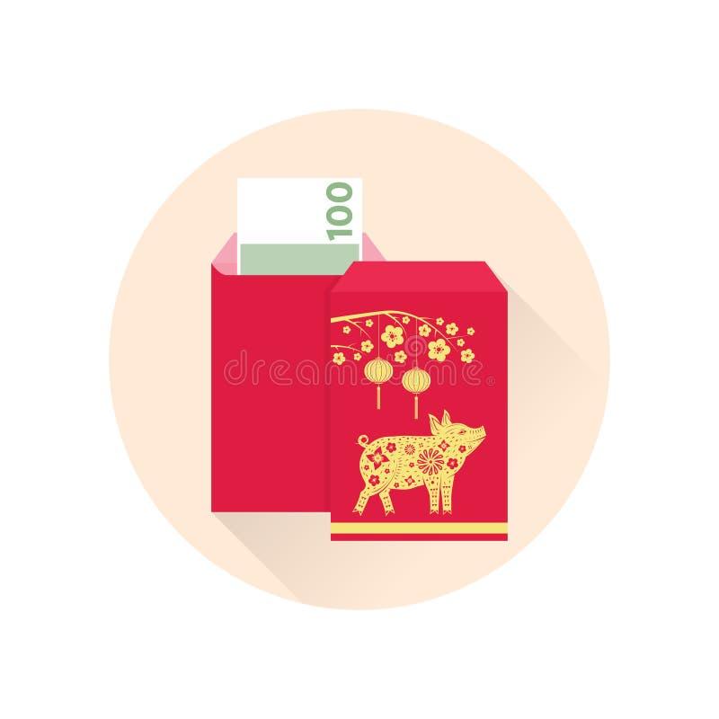 Значок китайского конверта Нового Года красного плоский иллюстрация вектора