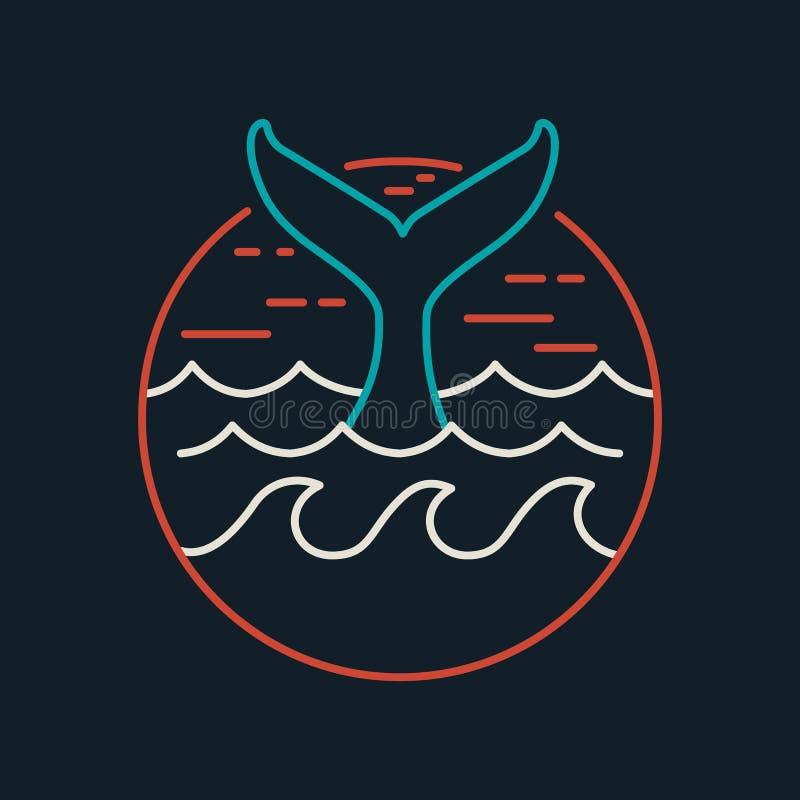 Значок кита в плоской линии искусстве с океанскими волнами иллюстрация штока
