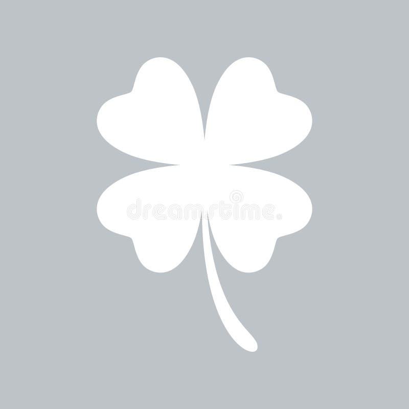 Значок клевера плоский на серой предпосылке, для любого случая бесплатная иллюстрация
