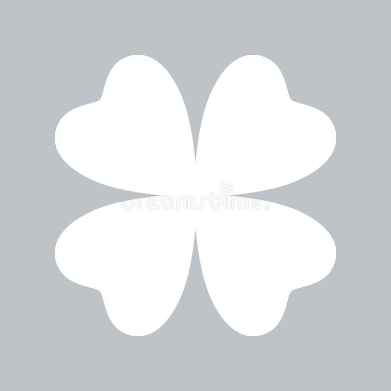 Значок клевера плоский на серой предпосылке, для любого случая иллюстрация штока