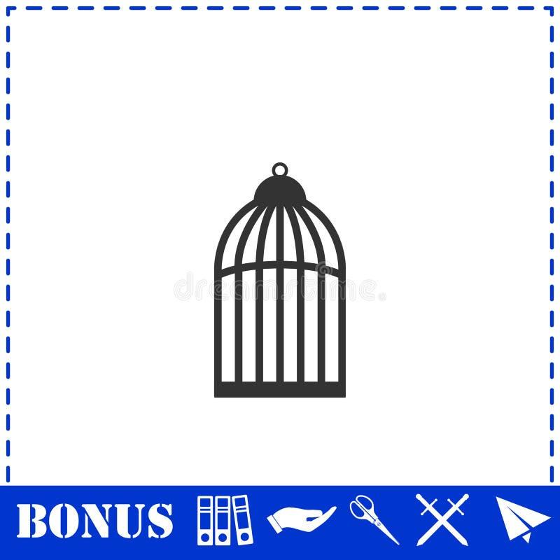 Значок клетки птицы плоско иллюстрация вектора