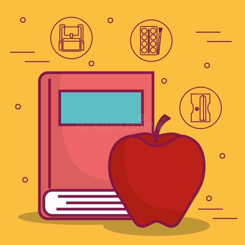 Значок книги и яблока бесплатная иллюстрация