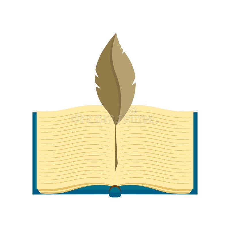 Значок книги по праву с пером иллюстрация вектора
