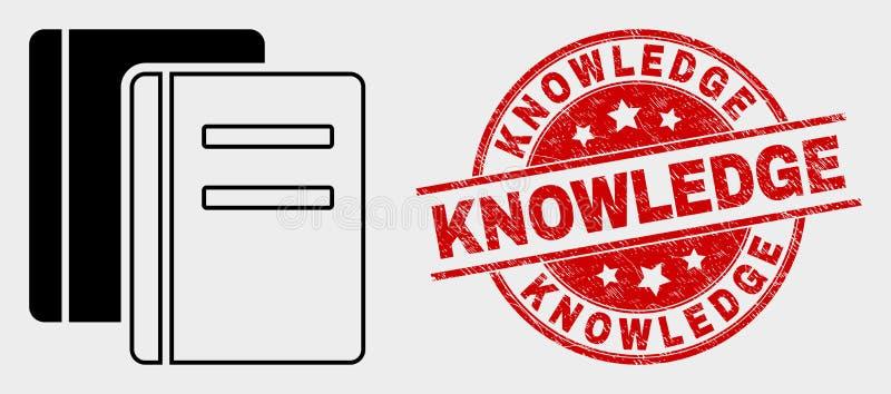 Значок книг вектора и поцарапанное уплотнение печати знания бесплатная иллюстрация