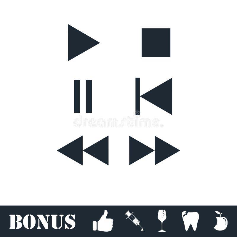 Значок кнопки музыки плоско иллюстрация вектора