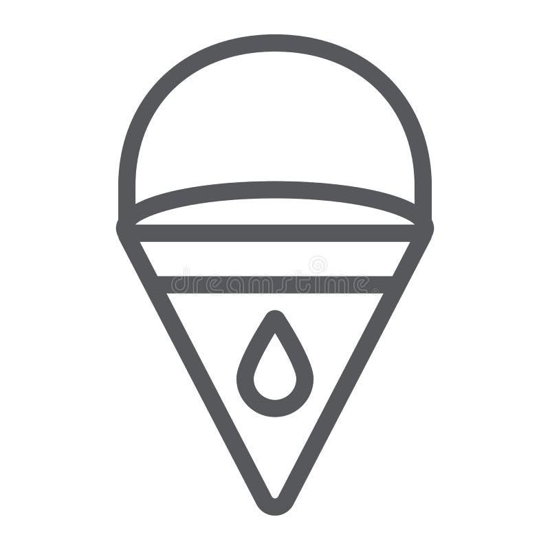 Значок ковшевой цепи огня, пожарный и оборудование, знак ведра треугольника, векторные графики, линейная картина на белом иллюстрация штока