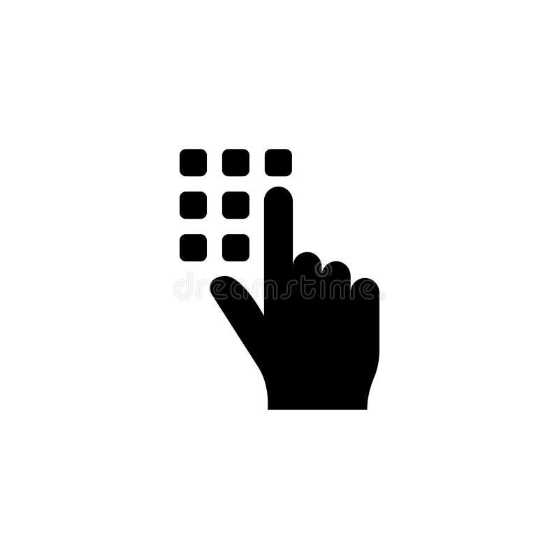 Значок кода штыря Пароль и открывает, достигает, идентификация, открывает символ Плоская иллюстрация вектора кнопка стоковое изображение
