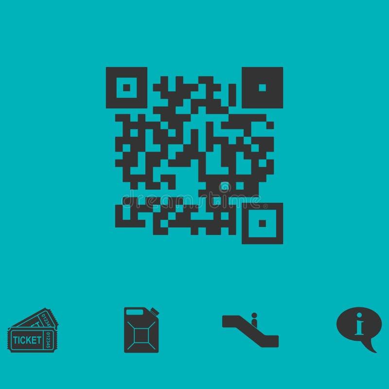 Значок кода Qr плоско иллюстрация штока