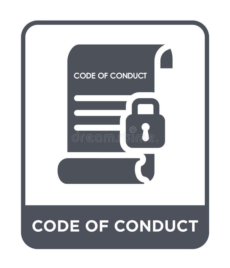 значок кодекса поведения в ультрамодном стиле дизайна значок кодекса поведения изолированный на белой предпосылке значок вектора  бесплатная иллюстрация