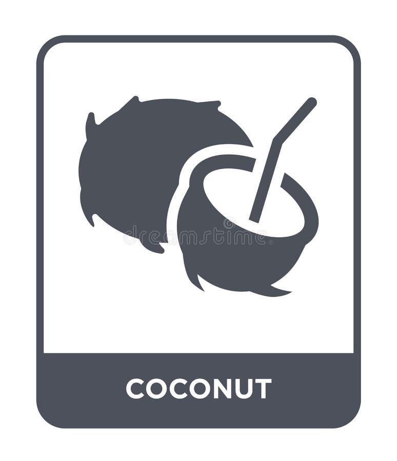 значок кокоса в ультрамодном стиле дизайна Значок кокоса изолированный на белой предпосылке символ значка вектора кокоса простой  иллюстрация вектора