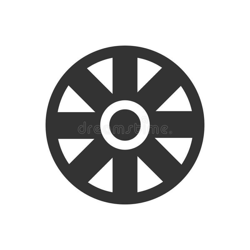 Значок колеса тележки плоско иллюстрация штока