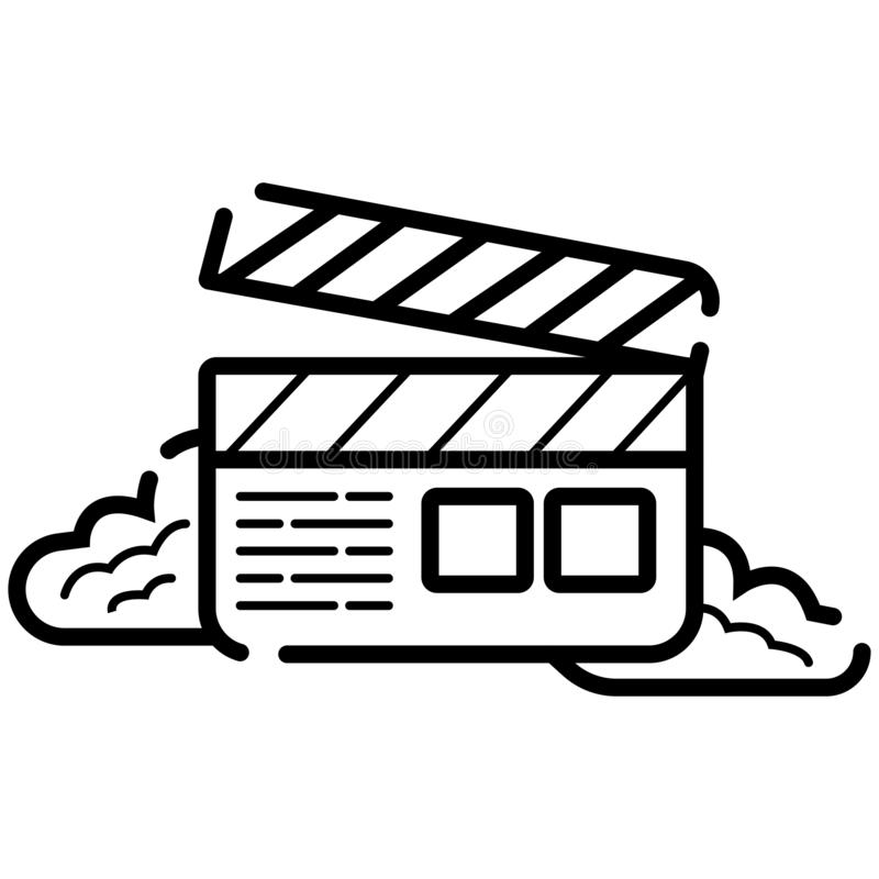 Значок колотушки фильма, значок вектора кино, видео- значок иллюстрация штока