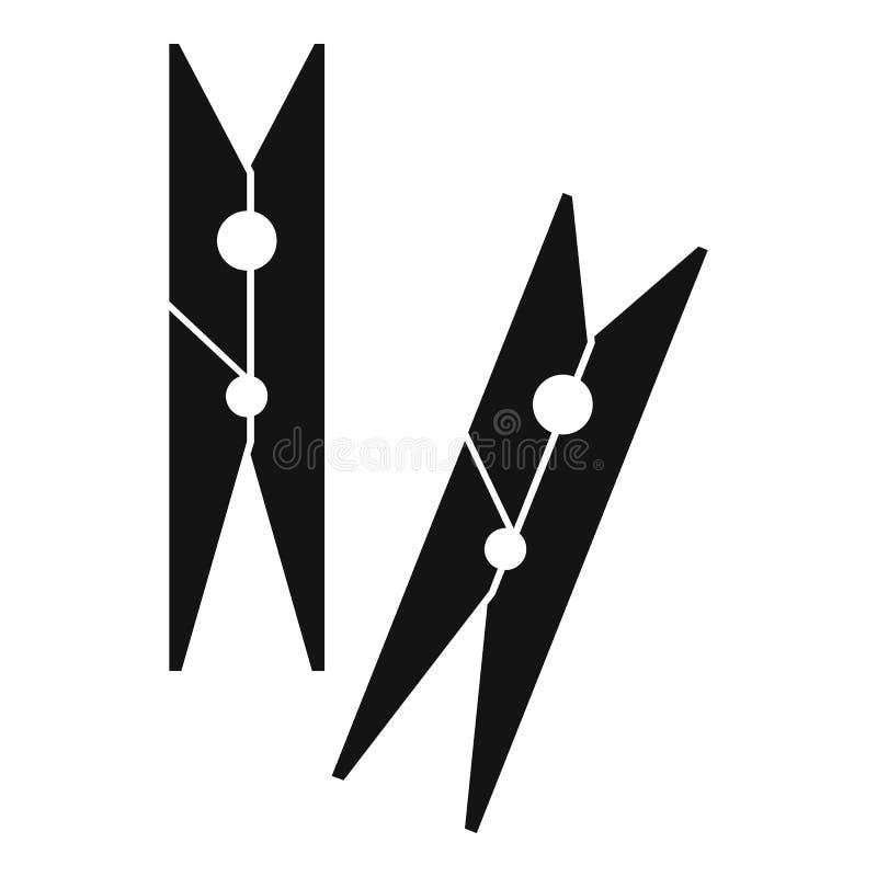 Значок колышков одежд, простой стиль иллюстрация вектора
