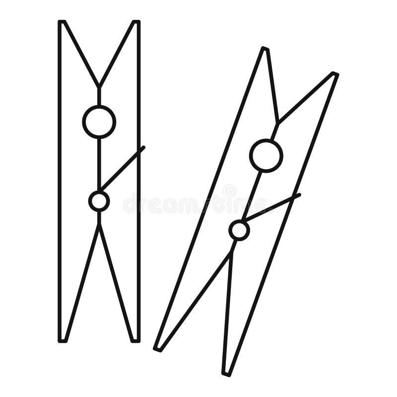Значок колышков одежд, стиль плана иллюстрация штока