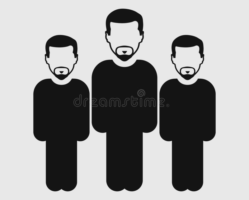 Значок команды потребителя Стоя мужские символы на серой предпосылке Плоский вектор EPS стиля иллюстрация вектора
