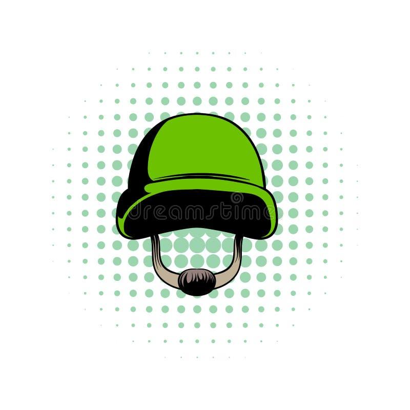 Значок комиксов шлема армии иллюстрация вектора