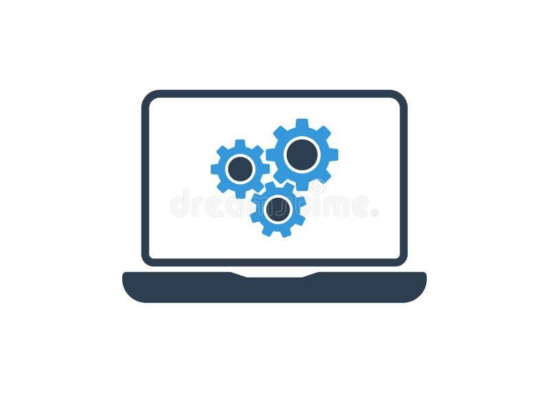 Значок компьютера шестерни шаблон вектора ремонта компьютера иллюстрация иллюстрация штока