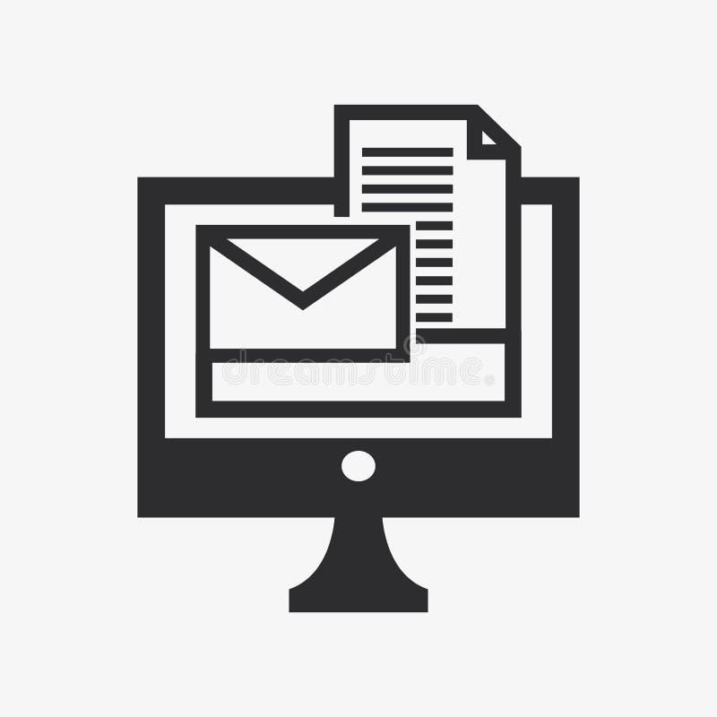 Значок конверта компьютера и сообщения иллюстрация вектора