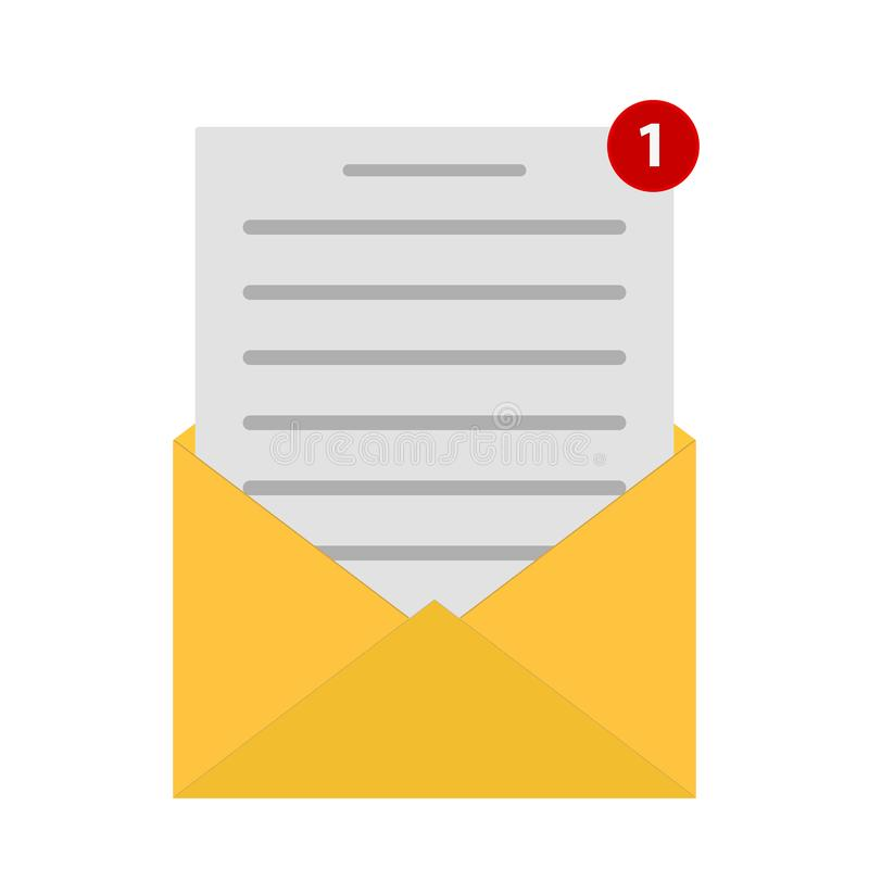 Значок конверта почты в плоском стиле Иллюстрация вектора сообщения электронной почты на изолированной предпосылке Концепция дела иллюстрация вектора