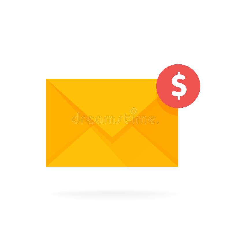 Значок конверта почты с монетками доллара Электронная почта посылает иллюстрацию вектора концепции денег иллюстрация штока