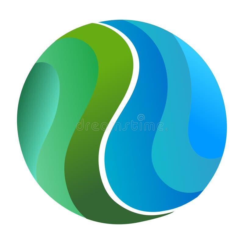 Значок конспекта логотипа круга Зеленый цвет глобуса конспекта и голу иллюстрация штока
