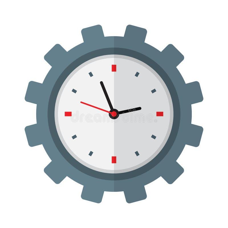 Значок контроля времени Часы внутри шестерни иллюстрация вектора